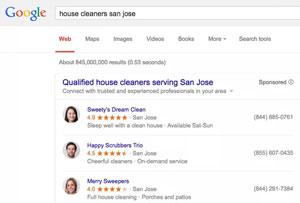 تبلیغ خدمات منزل در صفحه نتایج گوگل