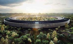 شش ماه پس از آغاز کار Apple Campus 2 نیمی از حلقه سفینه فضایی کامل شده