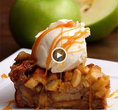 پای سیب با نان