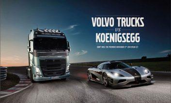 رقابت کامیون ولوو با یک Koenigsegg در پیست مسابقه