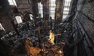 حفاری کتابخانه مکینتاش پس از آتش سوزی