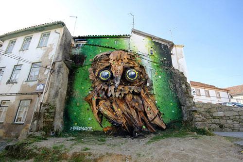 «جغد بازیافتی» اثر جدید هنرمند پرتغالی