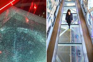 پل شیشهای گردشگری توسط یک بطری شکست