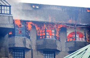 منبع اصلی آتش در مدرسه هنر گلاسکو