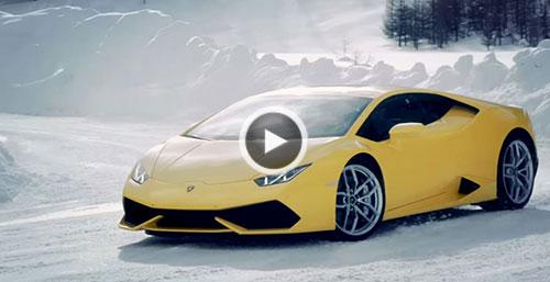 آموزش رانندگی در برف با اتومبیلهای لامبورگینی!