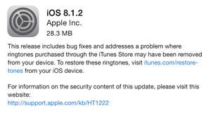 عرضه نسخه نهایی iOS 8.1.2 به همراه حل مشکل ناپدید شدن رینگتون
