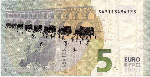 خطخطیهای هنرمند یونانی بر روی اسکناسهای یورو