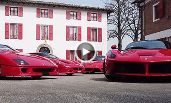 فراری F40، F50، Enzo و LaFerrari در پیست مسابقه