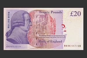 بانک انگلستان، تصویر یک هنرمند را بر روی اسکناس ۲۰پوندی جدید چاپ میکند