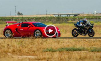 رقابت شگفتانگیز یک موتورسیکلت با یک بوگاتی ویرون
