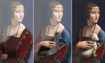 لئوناردو داوینچی سه بار پرتره «بانویی با قاقم» را نقاشی کردهاست! + ویدیو