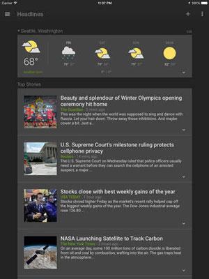 ارائه اپلیکیشن Google News & Weather ویژه سیستم عامل iOS