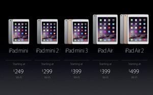 کاهش ۱۰۰ دلاری قیمت آیپد ایر، آیپد مینی و آیپد مینی ۲، پس از عرضه آیپدهای جدید
