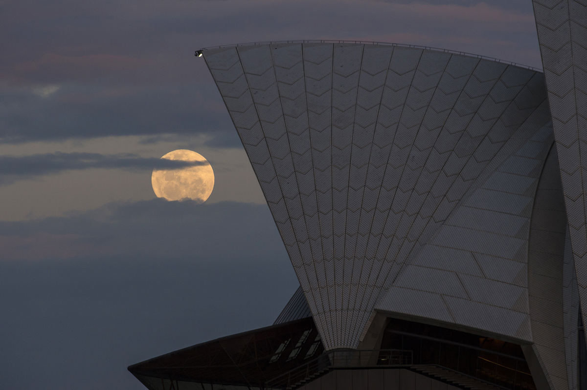 SYDNEY, AUSTRALIA - NOVEMBER 14: The moon rises behind the Opera House on November 14, 2016 in Sydney, Australia. A super moon occurs when a full moon passes closes to earth than usual, with the November 14th moon expected to be closer than it has been in over 70 years. (Photo by James D. Morgan/Getty Images)