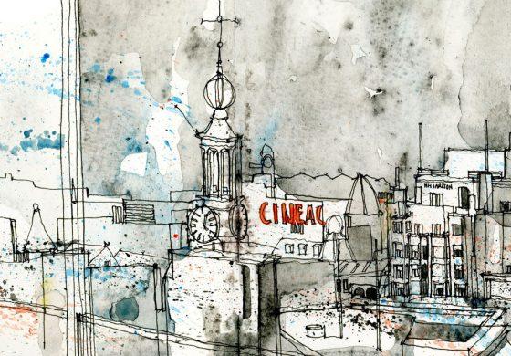 زیبایی آشفتگی و هیاهوی شهری در طرحی از رنگ و قلم