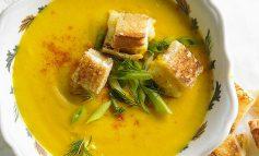 کروتون پنیر و سوپ هویج برای روزهای خنک