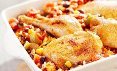 مرغ با لوبیا سیاه و برنج