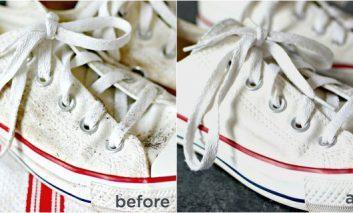 فوتوفن شستوشو و لکهبری کفشهای کتان