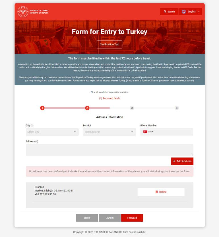 آدرس محل اقامت در ترکیه
