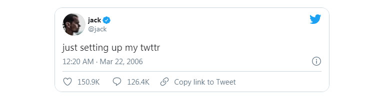 اولین توییت جک دورسی، مدیر عامل توییتر در ۲۱ مارچ ۲۰۰۶